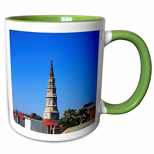3dRose Sandy Mertens South Carolina - Steeples in Charleston, SC - 11oz Two-Tone Green Mug - Sc Outlets Charleston