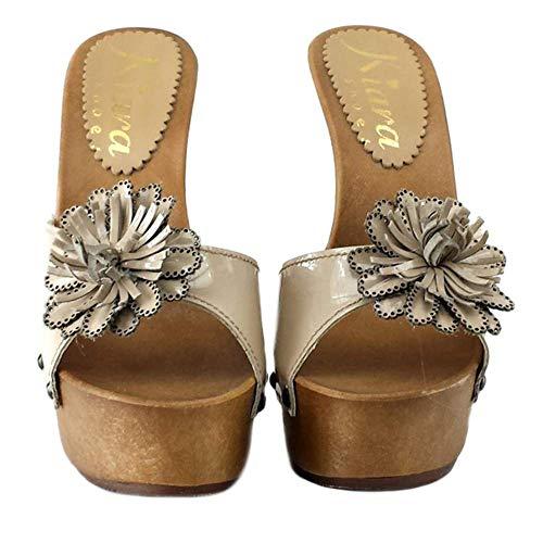 Shoes Pelle Beige Kiara K93213 Con Zoccolo Fiore vern In 4dwvFPwxq