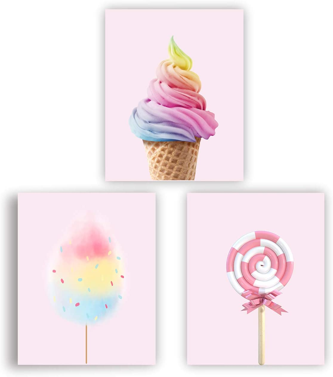 Candy Poster Rainbow Ice Cream Cotton Candy Wall Art Decor Girls Bedroom Wall Decor Modern Art Pink Poster (UNFRAMED)