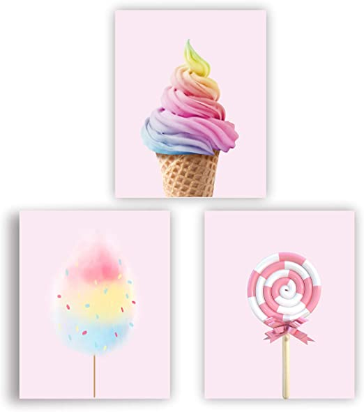 PASTEL COLOURED SWEETS COLLAGE KITCHEN CANVAS PRINT WALL ART PICTURE PHOTO