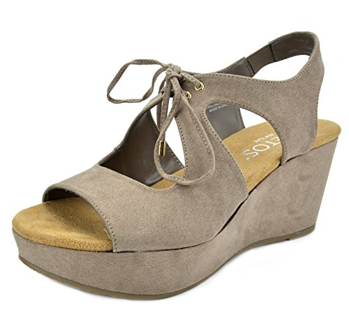TOETOS Heel Platform Mid Sandro Women's 02 Wedges taupe Sandals CrnCz