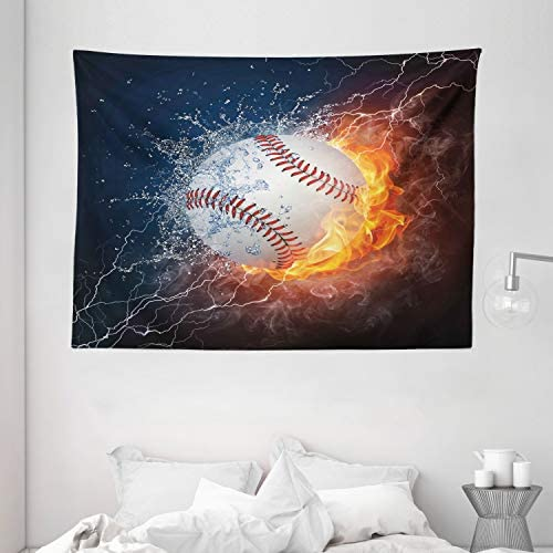 Ambesonne Sports Tapestry, Baseball Ball on Fire and Water Flame Splashing Thunder Creative Art, Wide Wall Hanging for Bedroom Living Room Dorm, 80 X 60 , Blue Burgundy