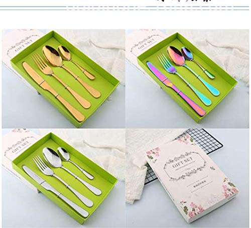 Wbeng 4 Pieces Stainless Steel Flatware Set,Spoons Knife Fork Set, Cutlery Set Gift Box Travel Camping,Reusable Lunch Box Utensils,Portable Travel Silverware Set