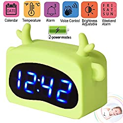 Symfury Kids Digital Alarm Clock LED USB Desk Clock with Voice Control 3 Alarm 4 Level Brightness for Heavy Sleeper Large Display Date Time Temperature for Women Men Teen Bedroom Kitchen Office Table