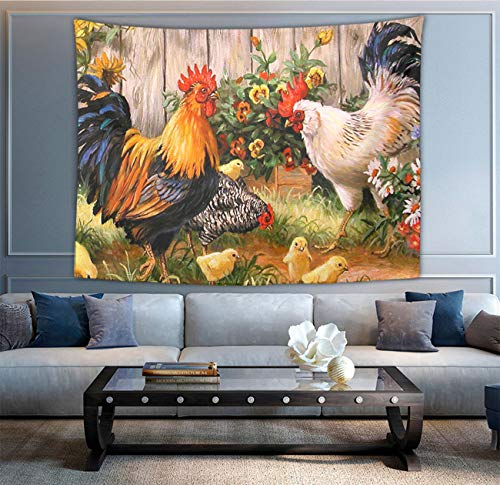 (NiYoung Chicken Rooster Garden Flowers Painting Tapestry Wall Hanging Blanket Bedspread Beach Towels Picnic Mat Tapestries, Wall Art Decoration for Bedroom Living Room Dorm, Window Curtain, 40