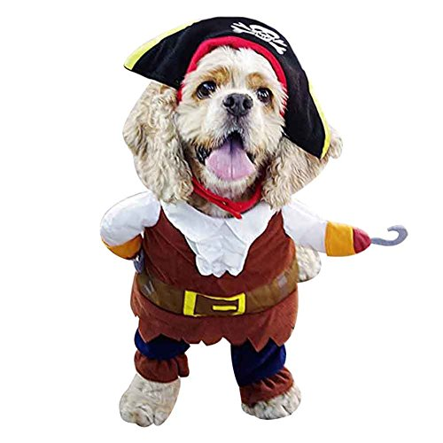 Ups Uniforms (BUYITNOW Pet Cosplay Costume Pirate Uniform with Hat for Dogs Cats Halloween Party Clothes)