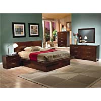 Contemporary Platform Bed in Cappuccino Finish (King - 88.75 in. L x 88 in. W x 43.5)