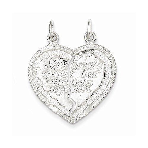 Sterling Silver Best Friend 2-Piece Break Apart Heart Charm (1IN long x 0.4IN wide)