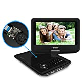 SYNAGY 9'' Portable DVD Player CD Player with Swivel Screen Remote Control Rechargeable Battery Car Charger Wall Charger, Personal DVD Player (Black)