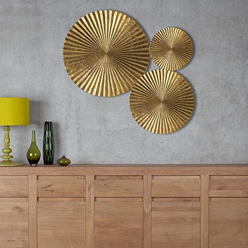 Decorlives Set of 3 Bright Gold Sunburst Large Metal Wall Art Decorative Sculpture Hanging Wall Décor ()
