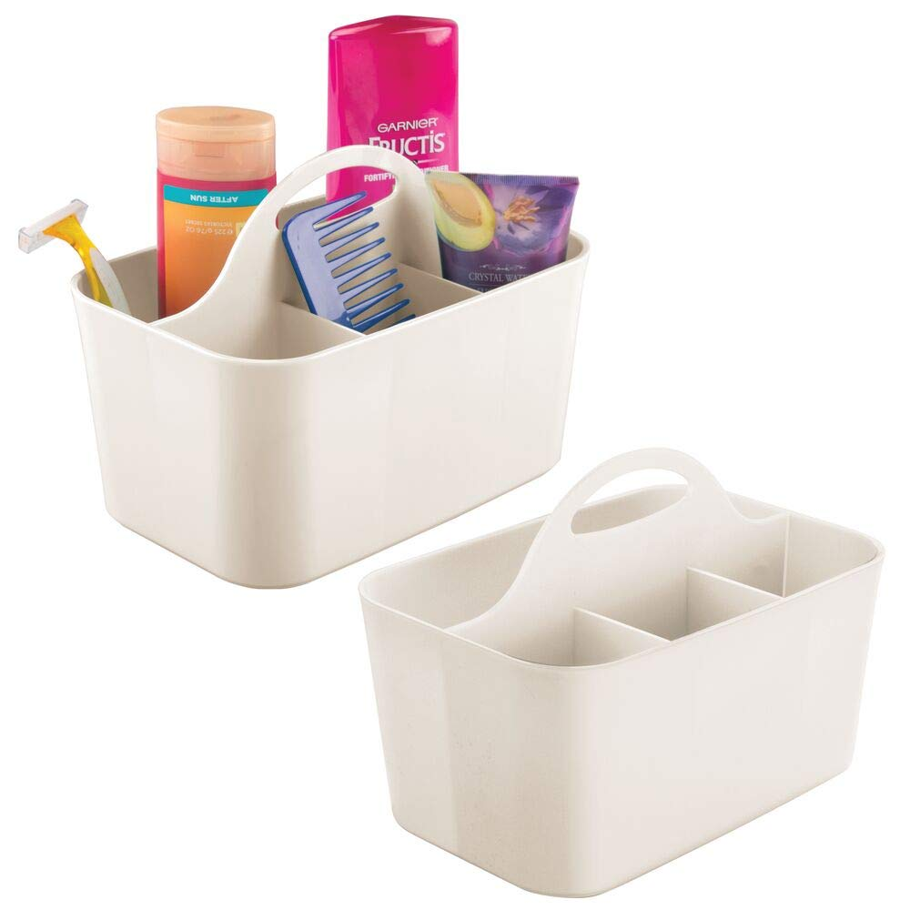 mDesign Juego de 2 cestas de baño con asa – para Usar como Organizador de cosméticos, Caja organizadora para Cocina o toallero – Cesta para Ducha pequeña en plástico Resistente – Crema