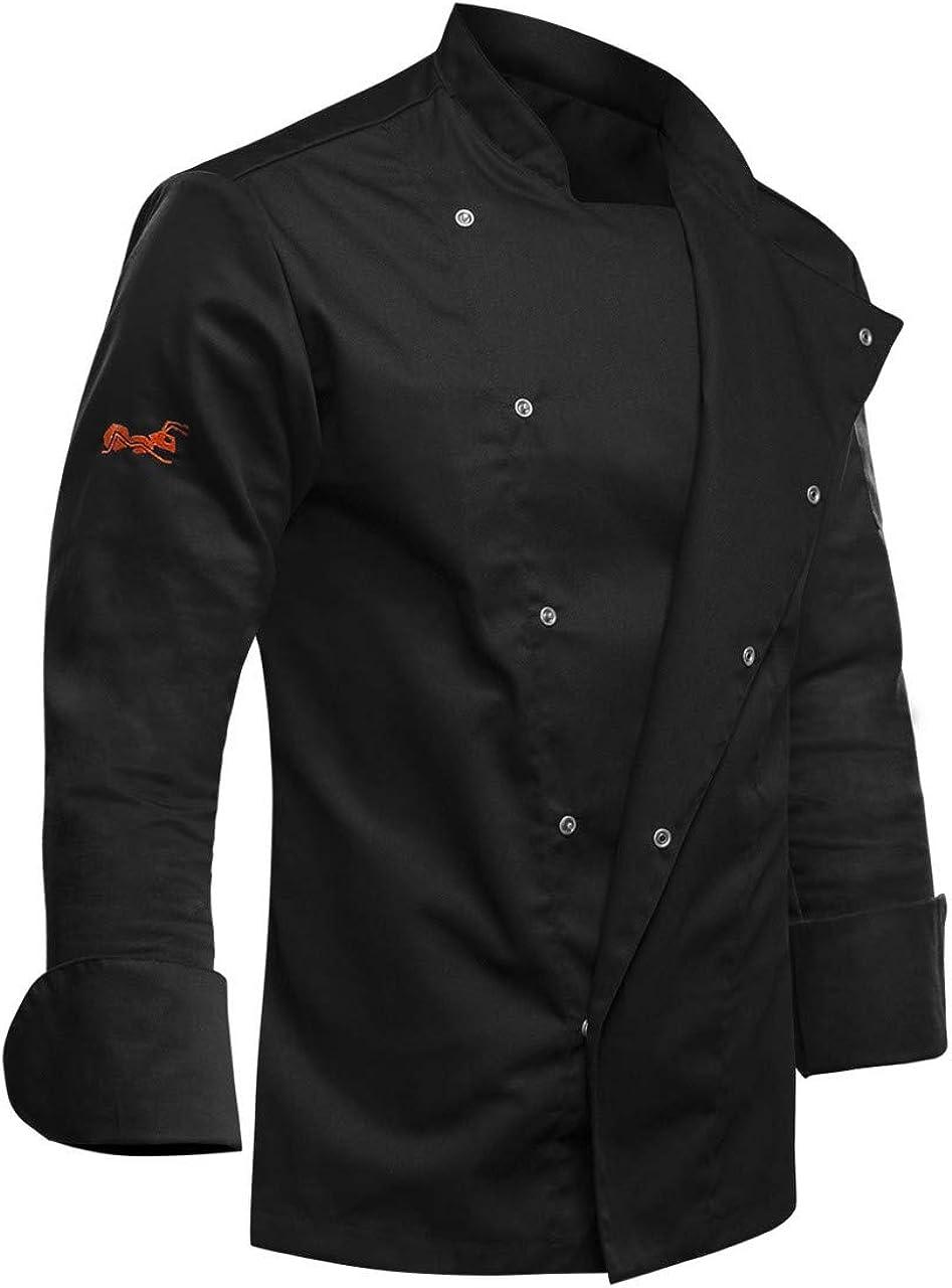 strongAnt® - Chaqueta de Chef/Cocinero Manga Larga Negro - Uniforme Fabricado en UE   Variedad de tamaños S a 2XL