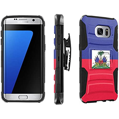 [SkinGuardz] Case for Samsung Galaxy S7 Edge / GS7 Edge [5.5 Screen] [Heavy Duty Ultra Armor Tough Case with Holster] - [Haiti Flag] Sales