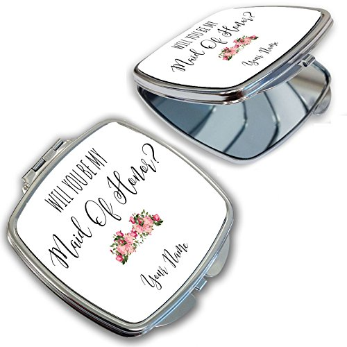 BleuReign(TM) Personalized Custom Floral Will You Be My Maid Of Honor Compact Cosmetic Mirror - Custom Compact Mirrors