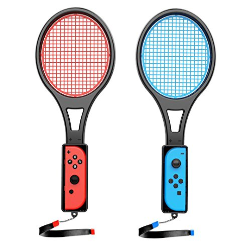 Switch Tennis Racket For Nintendo Switch Joycon  Accessories For Mario Tennis Aces Game Tennis Racket For Switch Tennis Aces 2 Player 1Pc Blue 1Pc Red