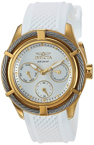 Invicta Women's 'Bolt' Quartz Stainless Steel and Silicone Casual Watch, Color:White (Model: 24456)