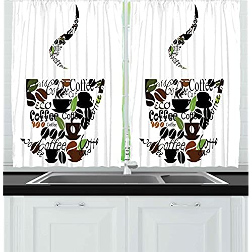 Ambesonne Coffee Decor Collection, Coffee Cup And Steam Pattern Made Of  Cups Beans Leaves Lettering Modern Art Print, Window Treatments For Kitchen  Curtains ...