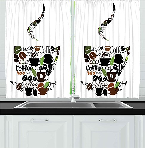 Ambesonne Coffee Decor Collection, Coffee Cup and Steam Pattern Made of Cups Beans Leaves Lettering Modern Art Print, Window Treatments for Kitchen Curtains 2 Panels, 55X39 Inches, Green Black Brown