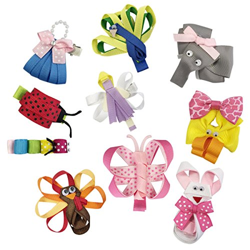 Grosgrain Ribbon Purses - Wrapables Baby Toddler Ribbon Sculpture Hair Clips (Set of 10)