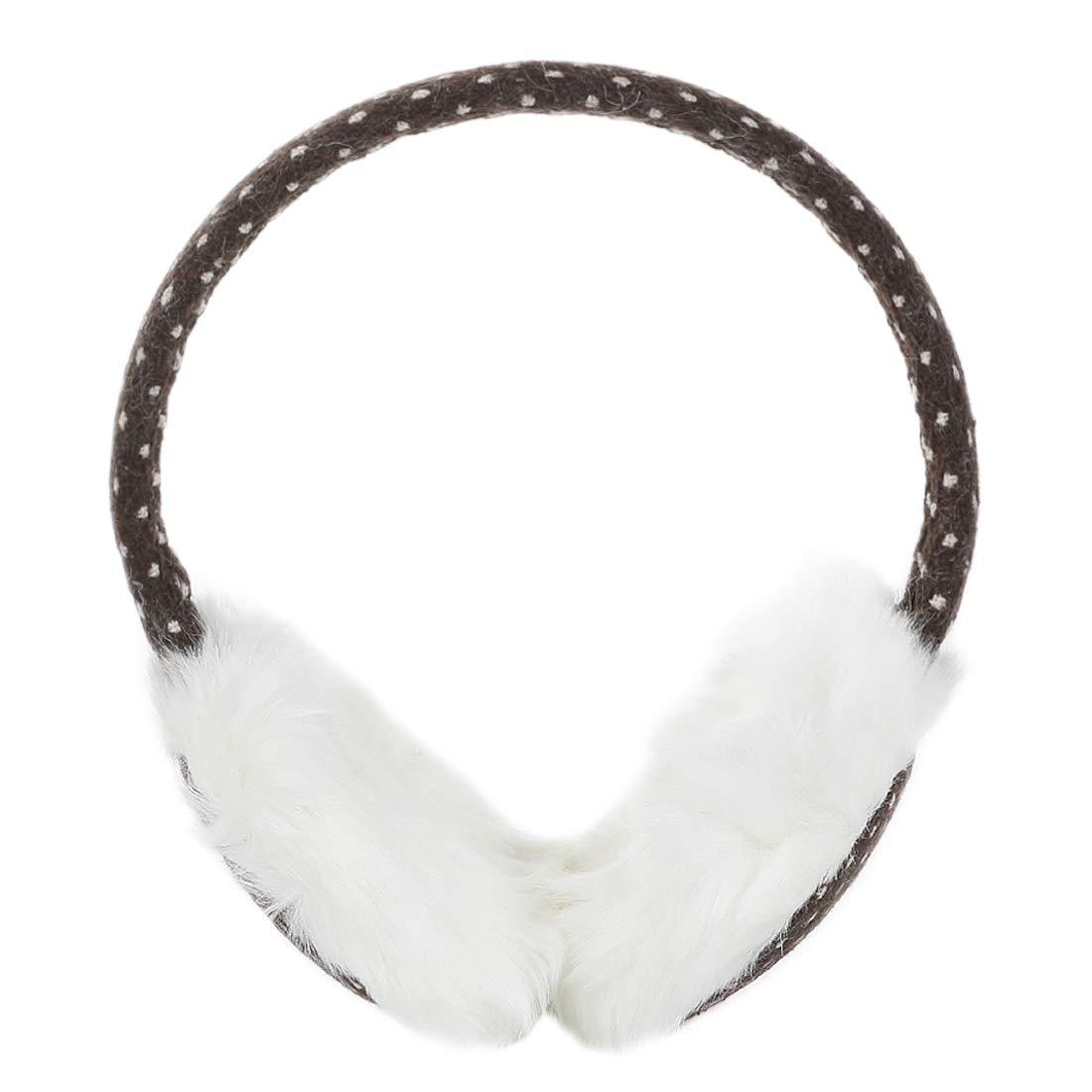 sourcingmap Women Winter White Faux Fur Flower Ear Cover Warmer Earmuffs Knitted Plush Pad Earlap a11121900ux0341