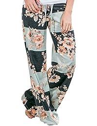 Women's American Flag Floral Drawstring High Waist Wide Leg Pants