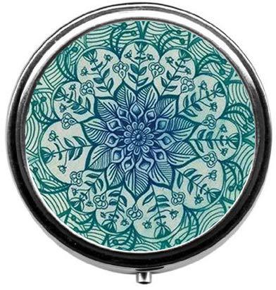 - BeeGogo - Natural Eco Personalized Design New Silver Round Pill Box Decorative Metal Medicine Vitamin Organizer Unique Gift