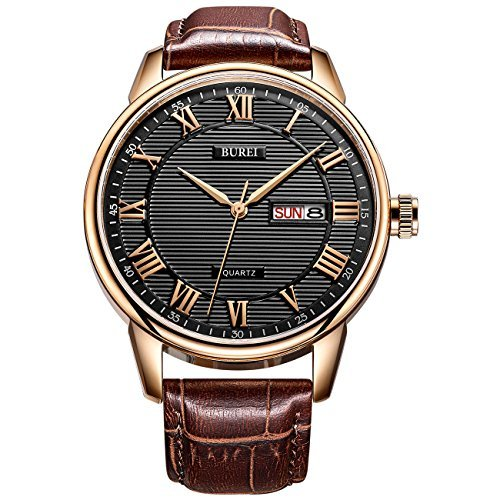 Brown Dress Dial (BUREI Mens Business Casual Dress Wrist Watch Black Dial with Roman Numeral Hand Brown Leather Strap)