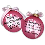 2018 Baby's First 1st Christmas Keepsake Ornament Ball in Pink Baby Girl Free Personalization (Pink)