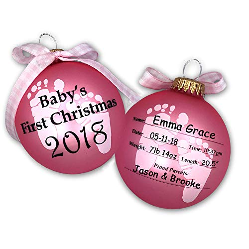 2019 Baby's First 1st Christmas Keepsake Ornament Ball in Pink for Baby Girl with Free Personalization (Pink)