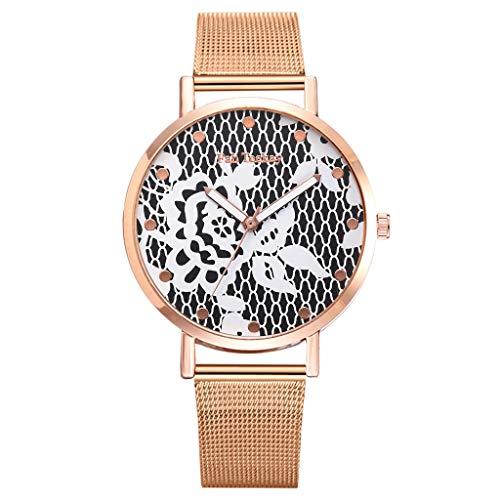 Hot Sale! Fashion Wrist Watch Women Simple Elegant Floral Dial Mesh Band Quartz Watches (Black) ()