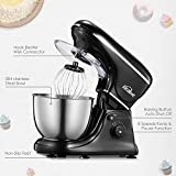 Kealive Stand Mixer, 8 Speed 700 Watt Kitchen Mixer with 5-Quart Stainless Steel Bowl, Dough Hooks, Whisk, Beater, Pouring Shield, Dough Mixer - Black