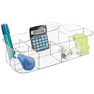 mDesign - Organizador integral para suministros de oficina / Organizador de escritorio; organiza tijeras, lapiceras, lápices, anotadores, marcadores, resaltadores, cinta - grande - Claro