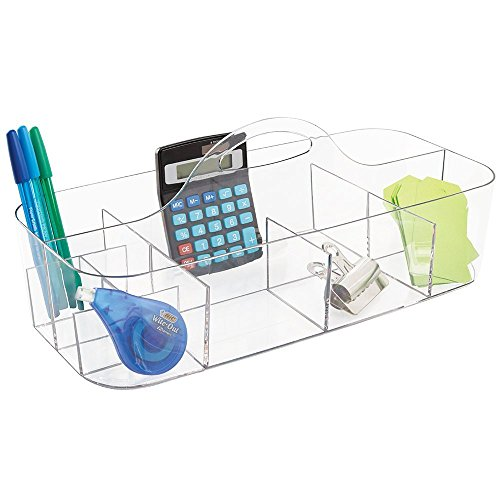 mDesign Large Plastic Desktop Office Storage Container & Organizer Portable Tote Caddy with Handle for Gel Pens, Pencils, Markers, Erasers, Staplers, Supplies - Clear by mDesign