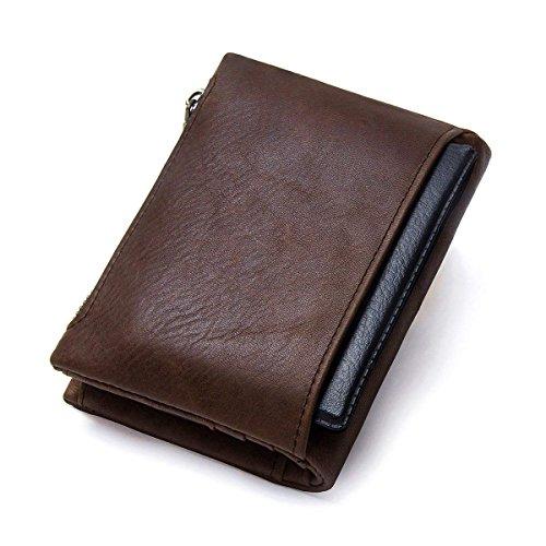 Billetera Bifold Hombres RFID Bloqueo Carteras Zip monedero en Caballo Loco Cuero 10 Slots: Amazon.es: Equipaje