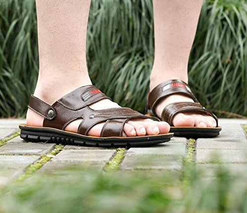 Summer Toe Flat Sandals Synthetic Non Open Slip Leather Ankle Beach Gaorui On Strap Outdoor Shoes Yellow Slip Mens E8wA1xqnt