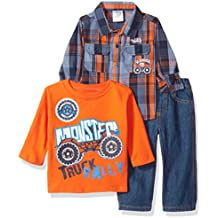 Little Rebels Baby Boys' 3 Piece Monster Truck Rally Pullover And Pant Set
