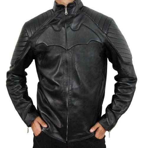 CosplayhiT Men's Christian Bale Batman Begins Leather Jacket