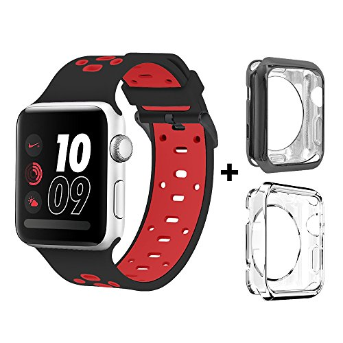 Bands for Apple Watch 42mm, Alritz Silicone Sport Straps Replacement Wristband with (Red Black Cool Belt Buckle)