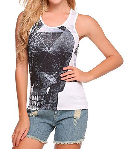 Aceshin Women's Basic Jersey Racer-Back Tank Top With 3D Print Sport Vest