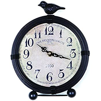 NIKKY HOME Vintage Cottage Metal Table Clock With Bird, 6.8 By 2 By 8.5  Inches
