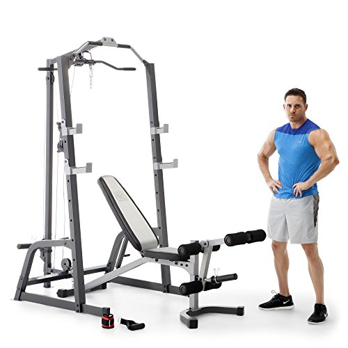 Marcy Home Gym Fitness Deluxe Cage System Machine with Weight Lifting Bench (Home Cage)