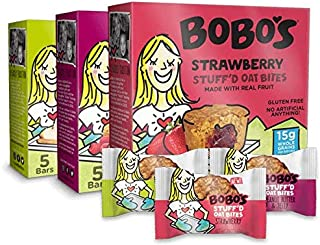 product image for Bobo's Oat Bites Stuff'd Variety Pack (Strawberry, Peanut Butter & Jelly, and Apple Pie), Pack of 30 (1.3 oz Bites), Gluten Free Whole Grain Rolled Oats