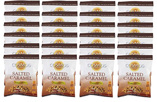 Premium Puffed Corn Snacks - Salted Caramel Popcorn - 1.25 oz Each - 24 Bags Value - Corn Salted