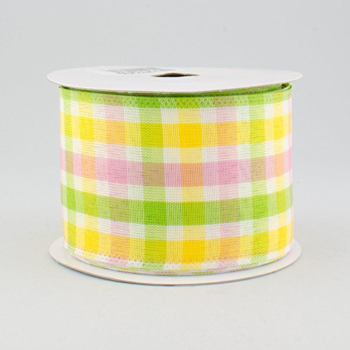 "2.5"" Wide Expressions Faux Linen Check Wired Ribbon Pink, Lime & Yellow (10 Yards) Spring & Easter"