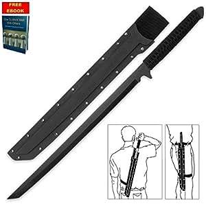 "27"" TACTICAL FULL TANG NINJA SWORD Ninjato Japanese Samurai Combat Machete BL + free eBook by Only US"