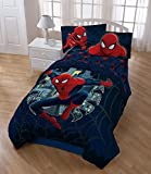 6pc Boys Spider Man Movie Themed Comforter Full Set, Navy Blue Red, Marvel Super Hero Spiderman Comic Costume Character Bedding, Geometric Superhero Characters Spiders Web Pattern