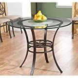 Lucianna Round Dining Table - Glass Top w/ Brown Metal Frame - Chic Finish
