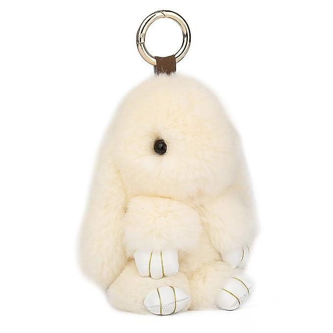 Amazon.com: Llavero de piel de conejo de CHMING, Blanco ...
