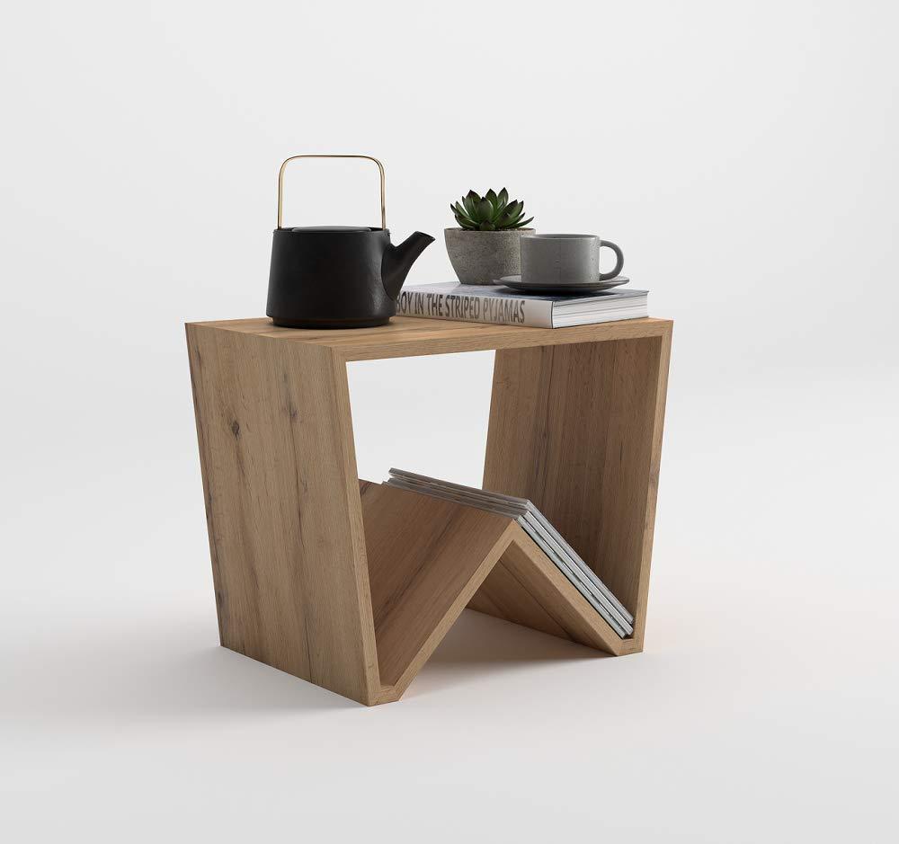 Mobili Fiver, Tavolino da salotto Emma, Frassino Bianco, 50 x 33 x 40 cm, Nobilitato, Made in Italy, disponibile in vari colori Mobilifiver