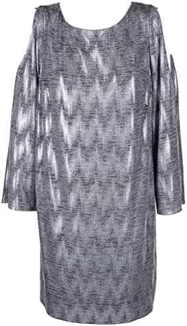 0fd1a52d1a7 Jessica Howard Plus Size Silver Long Sleeve Printed Sequined Cold-Shoulders  W